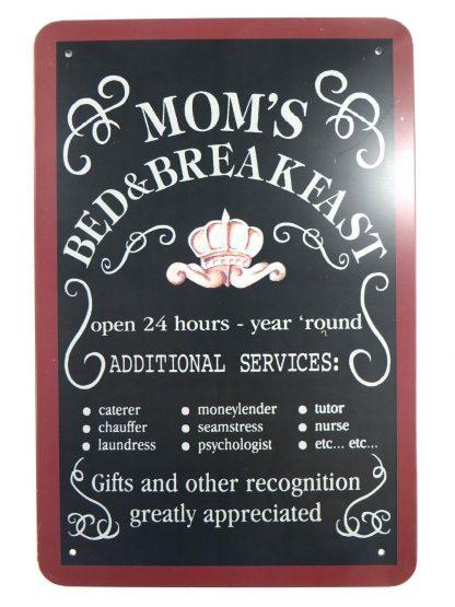 Mom's Bed & Breakfast tin sign bedroom dorm room metalsign13-3 Metal Sign &