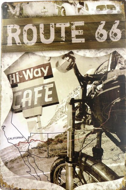 Route 66 Hi-way Cafe tin sign room   bedrooms metalsign14-2 Gas Oil Automotive bedrooms