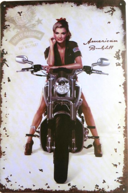vintage American Bombshell Harley Davidson tin sign metalsign19-6 Metal Sign American