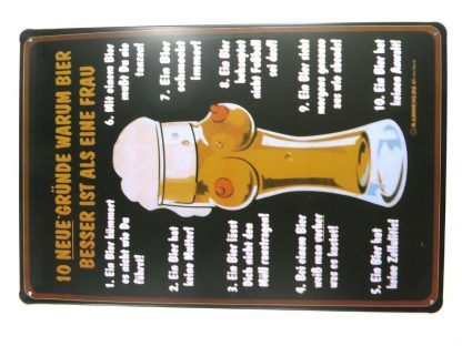 10 NEUE GRUNDE WARUM BEIR tin sign  metalsign21-7 Metal Sign 10