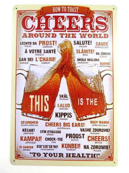 Cheers Around the World tin sign home and decor metalsign28-3 Metal Sign and