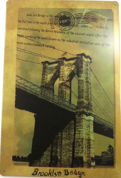 Brooklyn Bridge postcard tin sign  office restaurant metalsign40-2 Metal Sign bridge